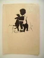 1939  KARLSRUHE   BADEN    GERMANIA  GERMANY   Deutschland   Silhouette GATTO KAT   BAMBINI  ENFANT  ENFANTS CIRCULE - Siluette