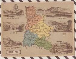 4AG1602 CHROMO HACHETTE Géographique + Vues Département DROME NYONS MONTELIMAR VALENCE - Géographie