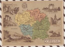 4AG1603 CHROMO HACHETTE Géographique + Vues Département CREUSE GUERET FELLETIN AUBUSSON BOUSSAC - Géographie