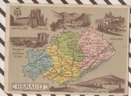 4AG1608 CHROMO HACHETTE Géographique + Vues Département HERAULT BEZIERS CETTE LODEVE - Géographie