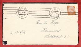 Trauerbrief, EF Hindenburg, Strich-Bandstempel Hannover 1937 (60936) - Briefe U. Dokumente