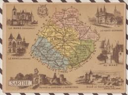 4AG1611 CHROMO HACHETTE Géographique + Vues Département SARTHE LE MANS LA FERTE BERNARD - Géographie