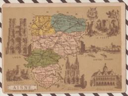 4AG1624 CHROMO HACHETTE Géographique + Vues Département  AISNE LAON COUCY SOISSONS LA FERTE - Géographie