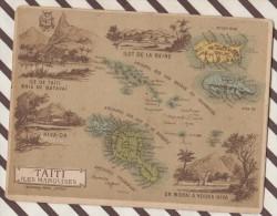 4AG1632 CHROMO HACHETTE Géographique + Vues Département  COLONIE DE TAITI ET DES ILES MARQUISES - Géographie