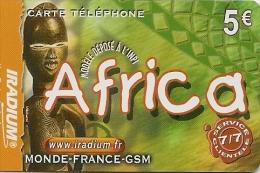 CARTE PREPAYEE-IRADIUM--5€-AFRICA-MASQUE-31/12/2005-V° GN° Lasers Sur Fond GRIS-T BE- - Autres Prépayées