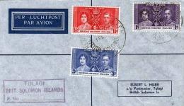 LP-Brief SOLOMON ISLANDS 1937 - Top Zustand, Luftpost-Brief 3 Fach Sondermarken Frankierung, Stempel 1937 Tulagi - Salomonen (...-1978)
