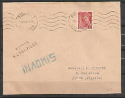 guerre 39/45 correspondance 102 Pornichet 13.9.40 retour envoyeur inadmis  pour Alger