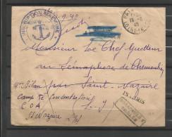 guerre 39/45 correspondance 110   retour envoyeur inadmis  Camp concentration C.O.A. Saint Nazaire  18.9.40