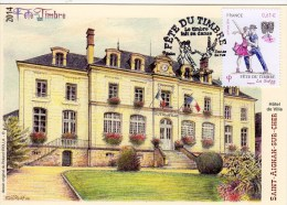 Saint Aignan sur Cher F�te du timbre 2014 -la mairie dessin de Roland IROLLA