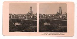 """FRIBOURG - Le Grand Pont Suspendu Et La Cathédrale - Carte Stéréoscopique - Publicité Lait """"GALACTINA"""" Au Verso - - FR Fribourg"""