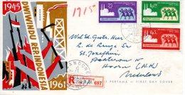 INDONESIE. N°250-2 De 1961 Sur Enveloppe 1er Jour (FDC). Indépendance. - Indonesië