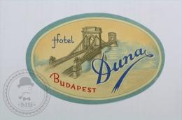 Hotel Duna, Budapest - Hungary - Original Hotel Luggage Label - Sticker