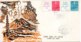 INDONESIE. N�345-6 de 1963 sur enveloppe 1er Jour (FDC). Volcan.