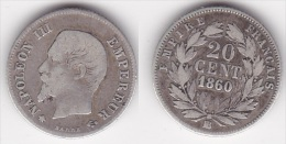 20 CENTIMES NAPOLEON III TETE NUE 1860 BB TB (voir Scan) - Francia