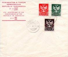 INDONESIE. N°21-3 De 1950 Sur Enveloppe 1er Jour (FDC). Défaite Du Japon. - Indonesia