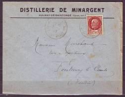 Lettre De AULNAY-DE-SAINTONGE  Charente Inf    Annee 1942   PETAIN  1f50 Brun   Pour FONTENAY Le COMTE Vendee - 1941-42 Pétain