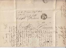 """DE486-1857 lettera MILITARE VIENNA-CREMONA indirizzata a REGGIMENTO FANTERIA """"AIROLDI""""-notizie su SOLDATO+timbro A SECC"""