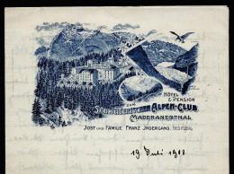 A2909) Briefbogen Mit Werbedruck Schweizerischer Alpen-Club 1908 - Pubblicitari