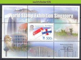 Nbr1533 VLAG BEACH MOUNTAINS FLAG CENTERS OF BUSINESS AND PLEASURE SINGAPORE NEDERLANDSE ANTILLEN 2004 PF/MNH - Antillen