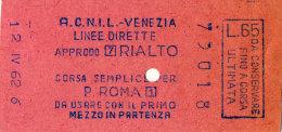 VENEZIA A.C.N.I.L. LINEE DIRETTE CORSA SEMPLICE LIRE 65 1962