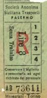 PALERMO AUTOLINEE SOC. AN. SICILIANA TRASPORTI RITORNO LIRE 8 ANNI ´50 - Bus