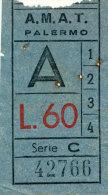 BIGLIETTO AUTOBUS AMAT LINEA 1,2,3,4 ANDATA LIRE 60 - Bus