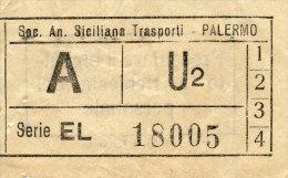 PALERMO AUTOLINEE SOC. AN. SICILIANA TRASPORTI ANDATA U2 PER LE LINEE 1\2\3\4 ANNI ´60 - Autobus