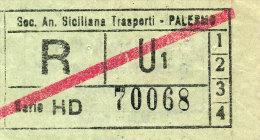PALERMO AUTOLINEE SOC. AN. SICILIANA TRASPORTI RITORNO U2 BARRATO PER LE LINEE 1\2\3\4 ANNI ´60 - Bus