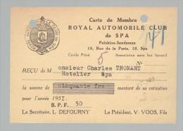Document - Carte De Membre Du Royal Automobile Club De Spa 1951 - Cercle Privé - Collections