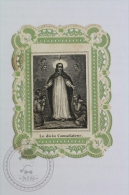 Antique Paper Lace Holy Card - Jesus And Apostles  - Holy Lace With Green Colour Margins - Imágenes Religiosas