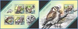nig14204ab Niger 2014 Birds Owl 2 s/s