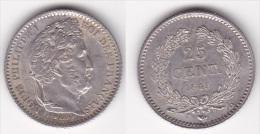 25 CENTIMES LOUIS PHILIPPE 1845 B En ARGENT (voir Scan) 2 - Francia