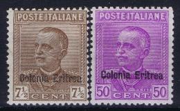 Italy: Eritrea Sa.nr. 142 - 143 MH/*  1928 - Eritrea