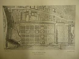 Paris , Jardin Des Tuileries En 1652 , D'aprés Le Plan De Gomboust , Gravure De 1880 - Estampes & Gravures
