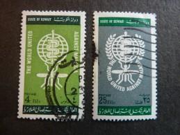 KOWEIT, ann�e 1962, YT n� 171 et 172 oblit�r�s, tr�s l�g�re trace charni�re