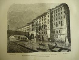Paris , Ancien Hotel Dieu , Façade Méridionale , Assises De L'ancien Pont Saint Charles , Gravure De 1880 - Estampes & Gravures