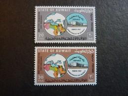 KOWEIT, ann�e 1967, YT n� 348 et 349 neufs, tr�s l�g�re trace charni�re