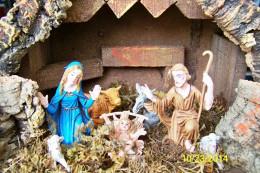 CRECHE DE NOEL BOIS ECORCE MOUSSE... AVEC 7 PERSONNAGES Et ANIMAUX EN PLASTIQUE DIMENSIONS : LONG 35 LARG 16 HAUT 22cm - Crèches De Noël