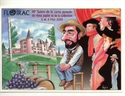 BERNARD VEYRI SALON DE LA CARTE POSTALE FLOIRAC TIRAGE LIMITE 2000 EX  DEDICACE AU DOS - Veyri, Bernard
