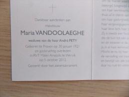Doodsprentje Maria Vandoolaeghe Proven 30/1/1921 Wervik 5/10/2012 ( André Pety ) - Religione & Esoterismo