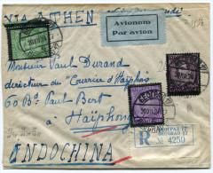 YOUGOSLAVIE LETTRE PAR AVION RECOMMANDEE DEPART BEOGRAD 20 XII 34 VIA ATHEN  POUR L'INDOCHINE - 1931-1941 Royaume De Yougoslavie