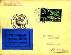 1925: Militärflugkonkurrenz, Flug Zürich-St. Gallen, Dübendorf - Airmail