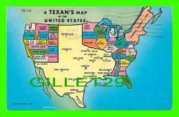 MAPS - CARTES GÉOGRAPHIQUES - A TEXAN´S MAP OF THE UNITED STATES - TRAVEL IN 1963 - CURTEICHCOLOR - - Cartes Géographiques