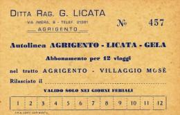 DITTA RAG. G. LICATA AUTOLINEA AGRIGENTO - LICATA - GELA ABBONAMENTO 12 VIAGGI ANNI ´60 - Europa