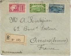 N°158+156+182 Sur Lettre Rec. De Damas Datée Du 23.1.29 Pour Amiens +au Dos - Covers & Documents