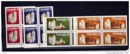 CANADA 1972,  #606pi-9pi, CHRISTMAS CANDLES  Chandelles SINGLES  SET OF 4 BLOCKS OF 4 - Blocks & Sheetlets