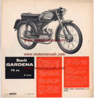 Bianchi GARDENA 75 1963 Moto Depliant Originale Genuine Motorcycle Factory Brochure Prospekt - Motor Bikes