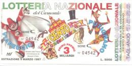 BIGLIETTO DELLA LOTTERIA  DEL CARNEVALE DI VIAREGGIO CENTO E PUTIGNANO  ANNO 1997 COME DA FOTO - Billets De Loterie