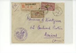 """N°50+51 Sur Env. Datée Du 15-12-26 Pour Amiens (cachet """"place De Casablanca-le Commandant D'armes"""" - Morocco (1891-1956)"""