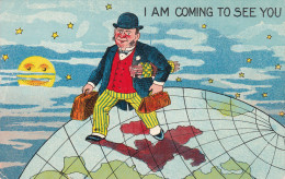 Man Traveling Over Earth Wearing Bowler Hat, Striped Pants Red Vest And Coat, Luggage, Moon And Stars, Clubs, 00-10s - Fashion